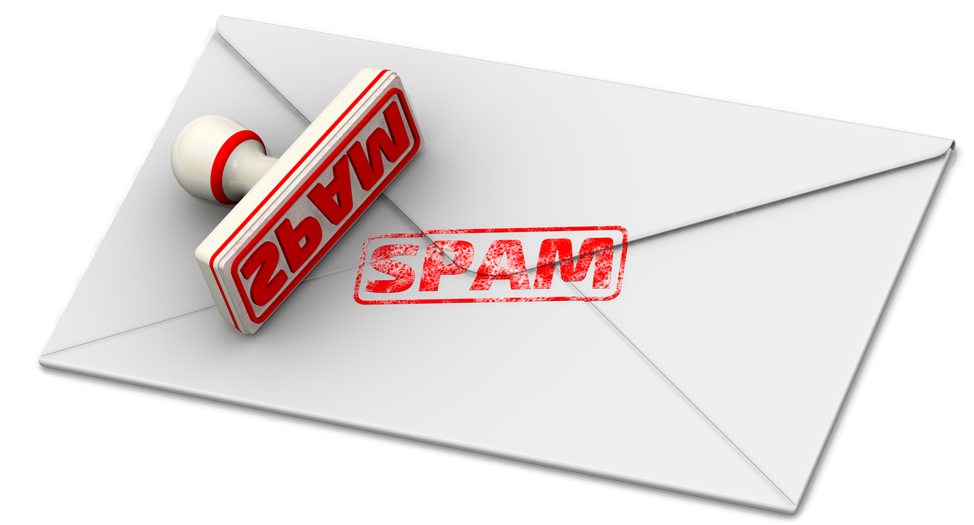 """Red seal and imprint """"SPAM"""" (Seriously Pissing-off Advertising Mail) on the sheet of closed postal envelope. Isolated. 3D Illustration"""